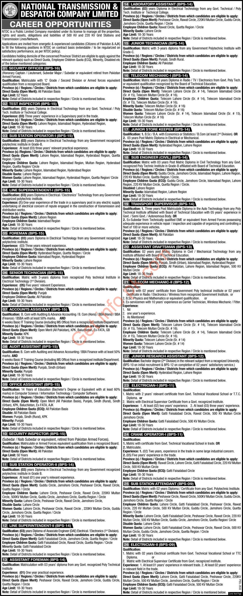 NTDC National transmission and despatch company jobs 2021
