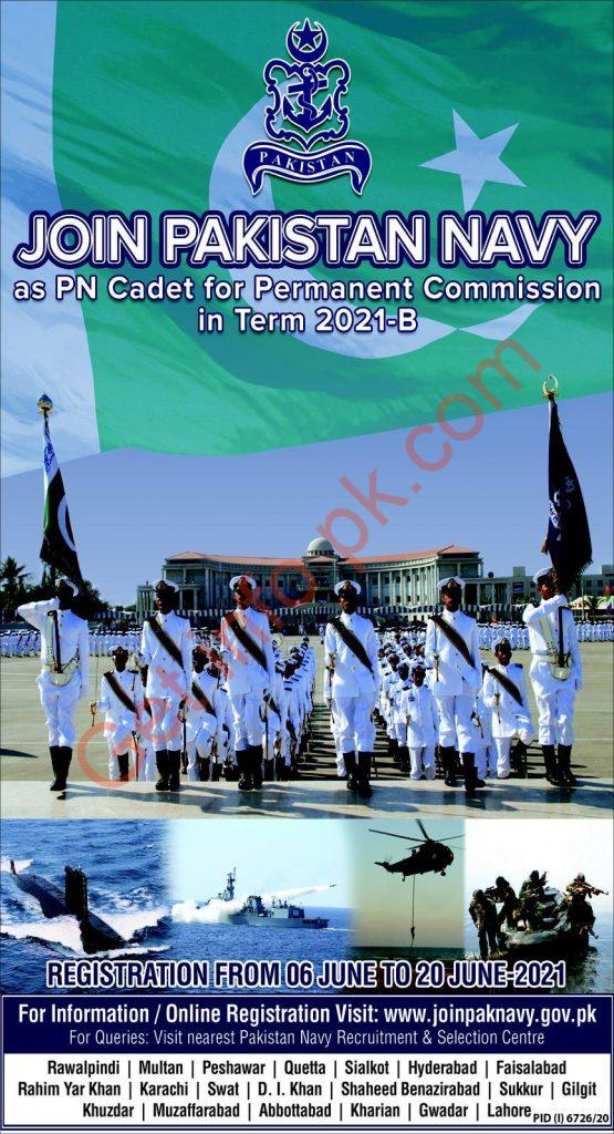 Join Pak Navy as PN Cadet for Permanent Commission 2021-B