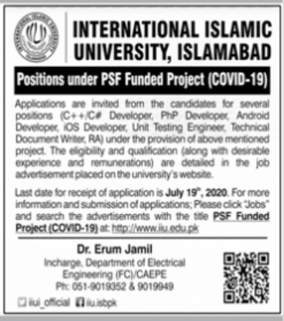 International Islamic University Islamabad latest Jobs 2020