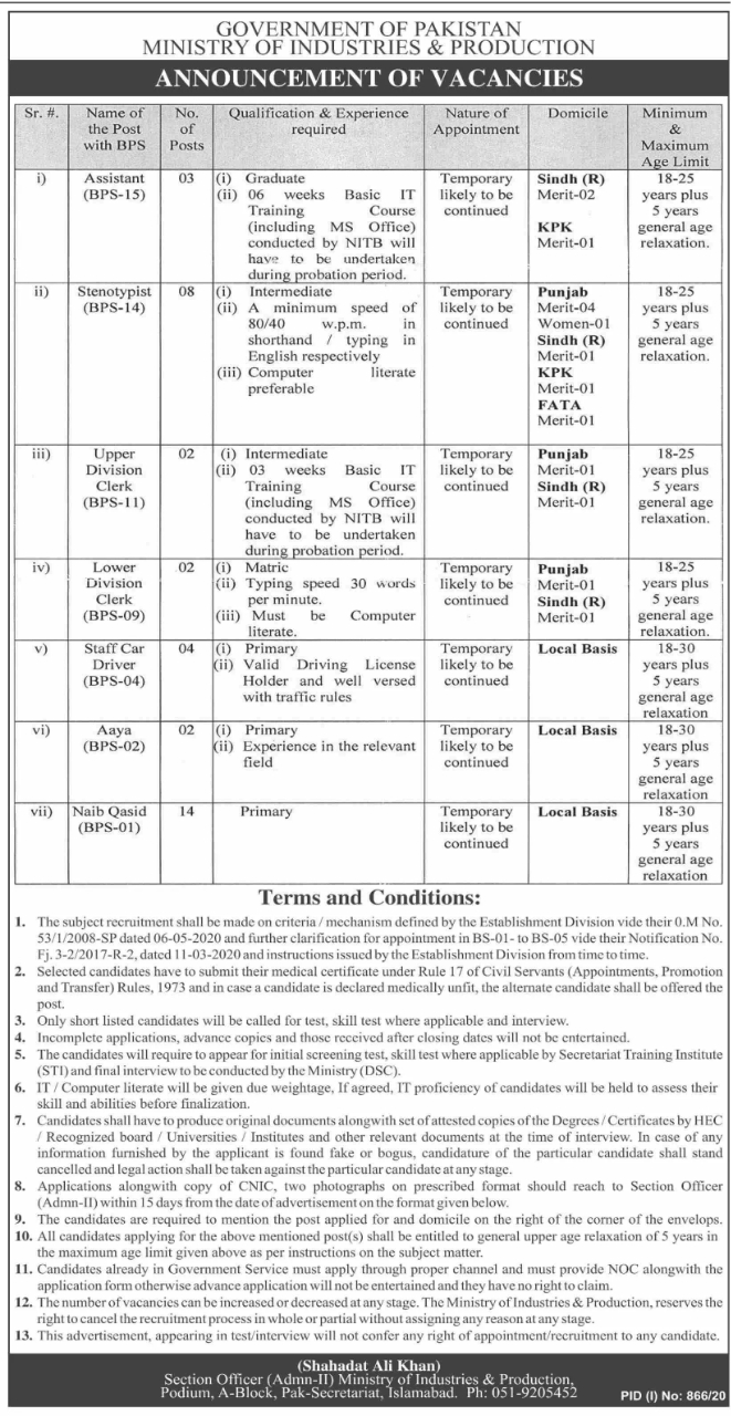 Ministry of Industries and Production Jobs