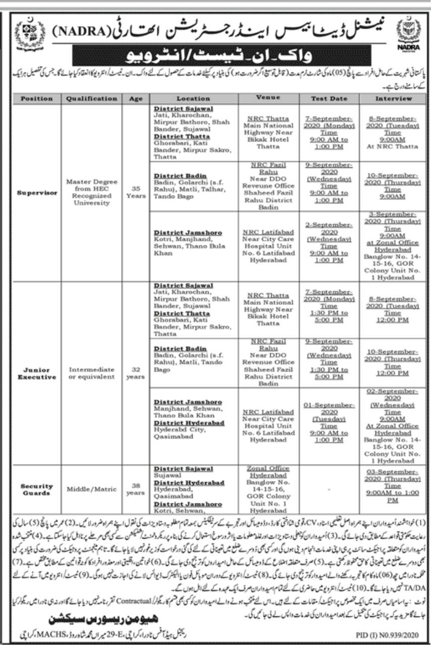 Nadra Jobs Karachi Region
