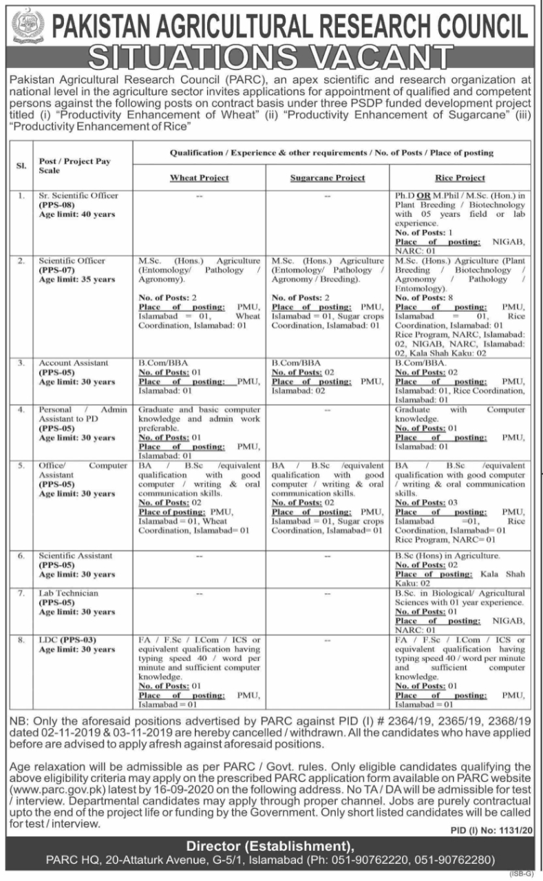 Pakistan Agricultural Research Council Jobs