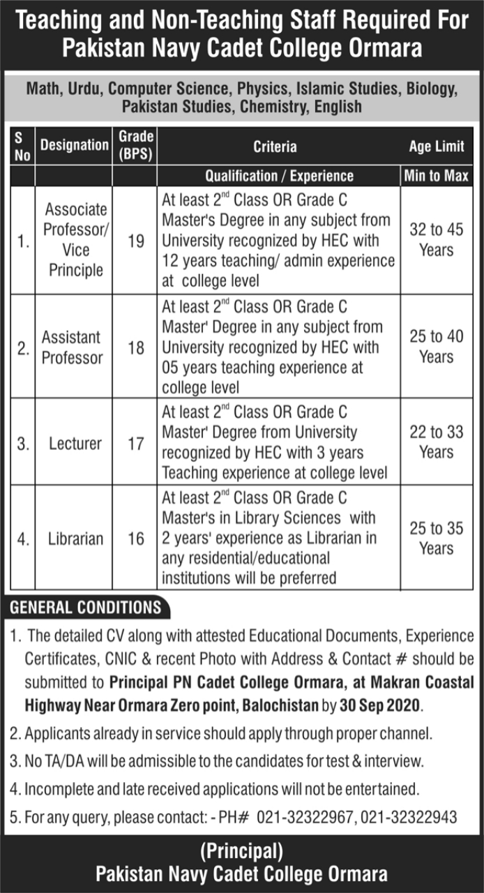 Pakistan Navy Cadet College Ormara Jobs