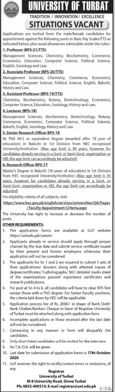 Teaching Jobs in University of Turbat NTS