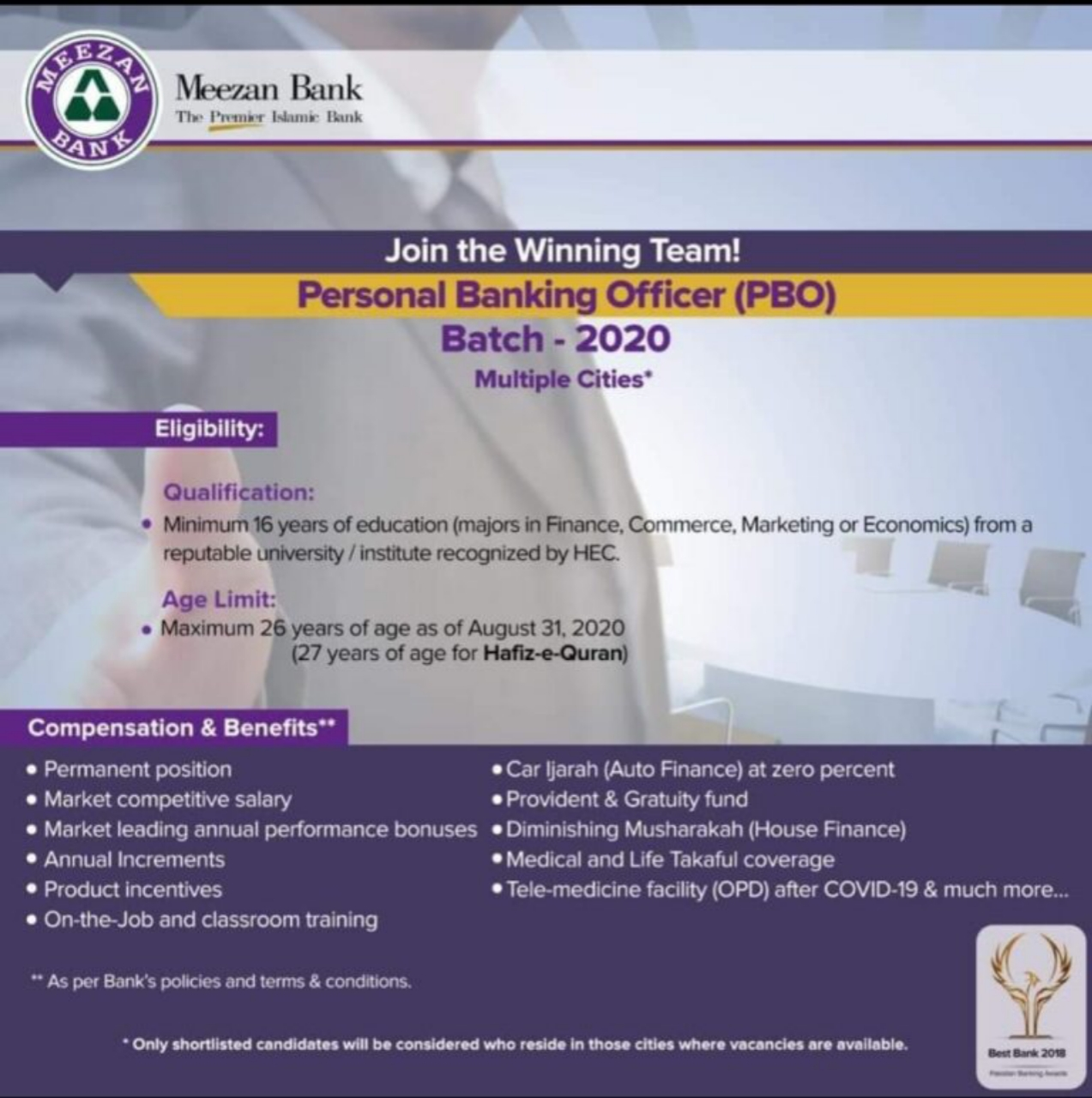 Meezan Bank Jobs For Personal Banking Officer 2020