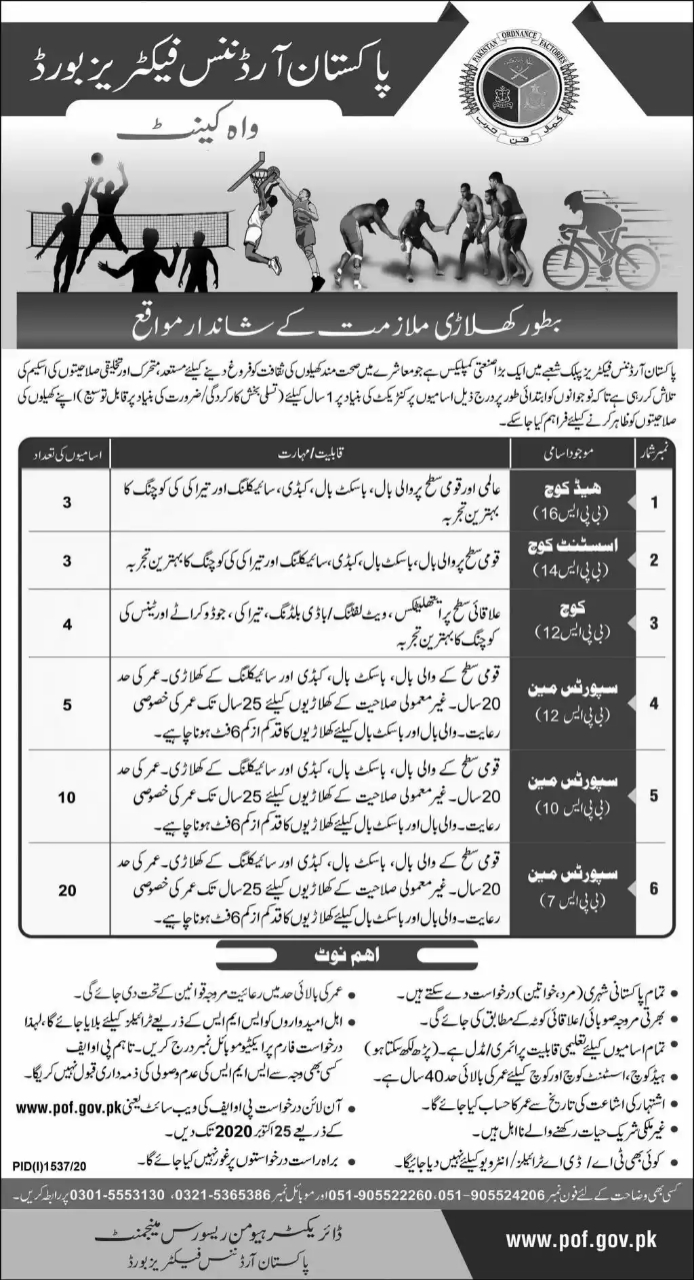 Pakistan Ordnance Factories Jobs 2020