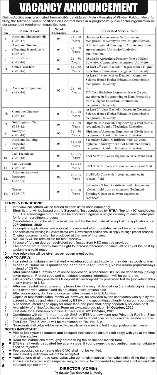 Peshawar Development Authority Jobs