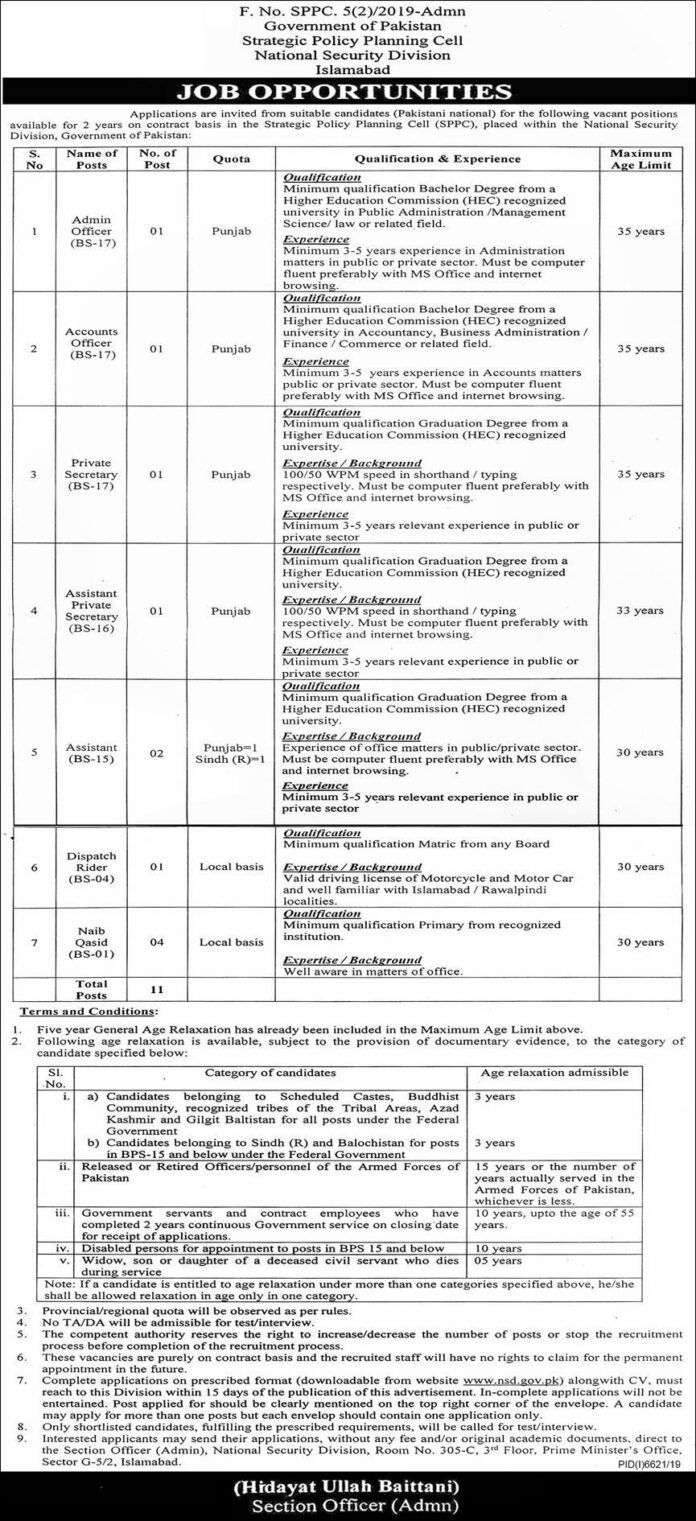 jobs in Government of Pakistan
