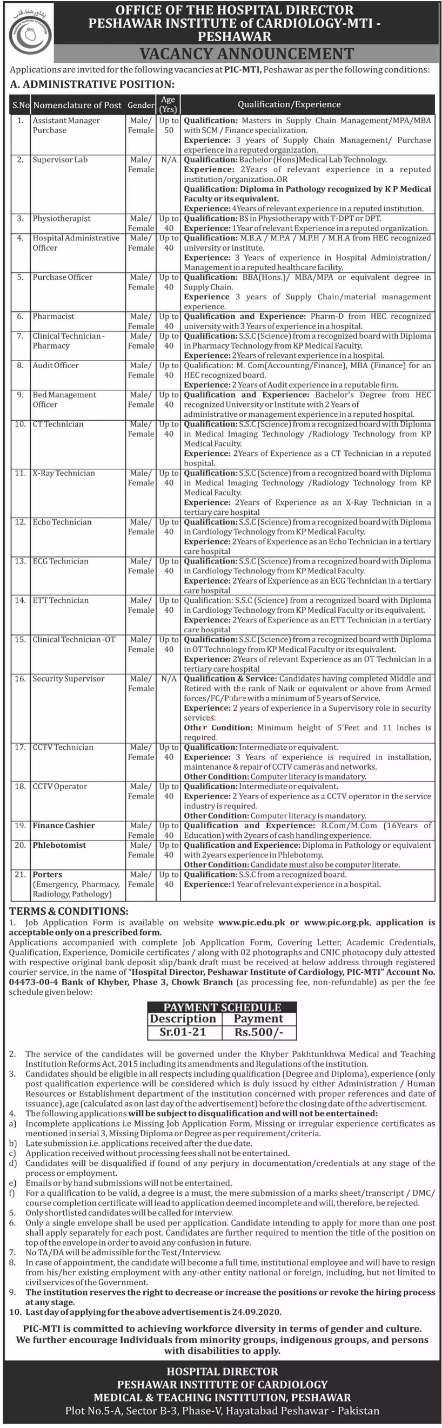 Peshawar Institute of Cardiology PIC MTI Jobs 2020