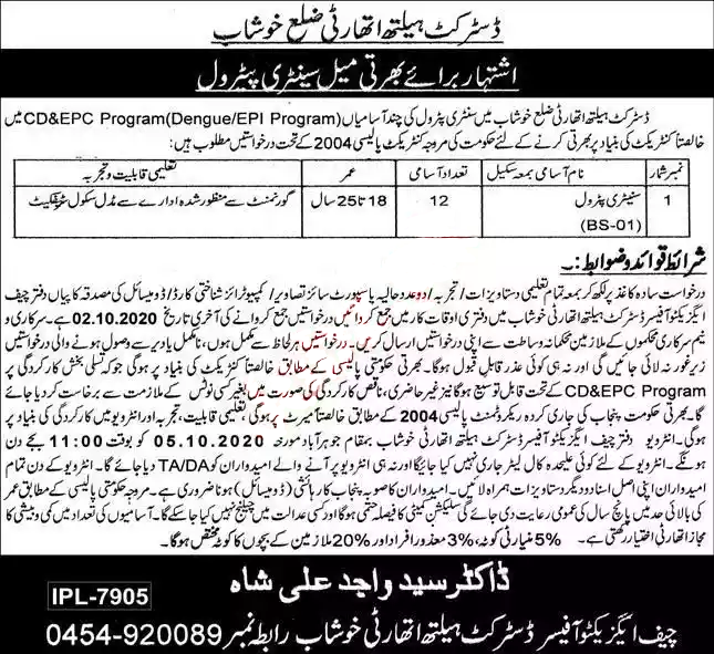 Latest District Health Authority DHA Jobs Khushab 2020
