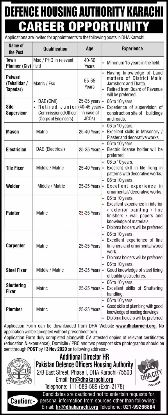 Defence Housing Authority DHA Jobs in Karachi 2020