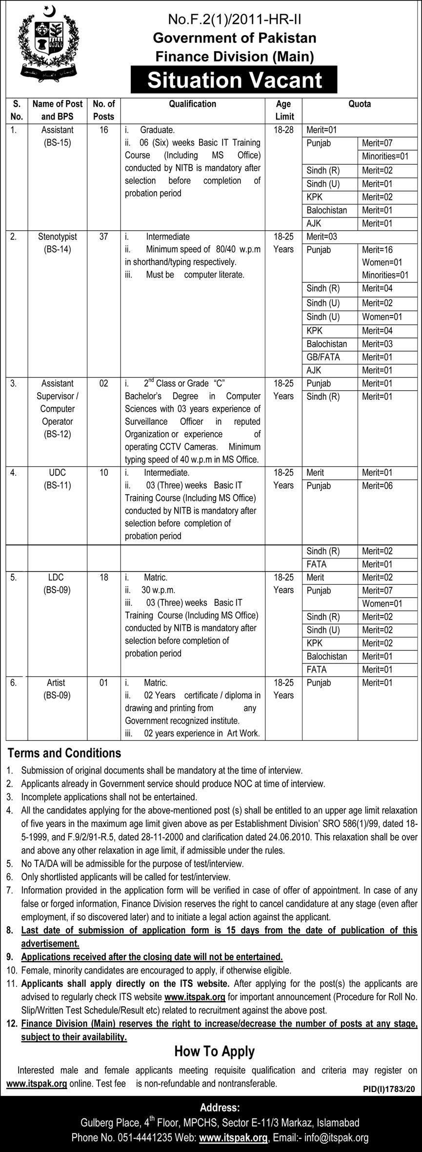 Latest Jobs in Ministry of Finance