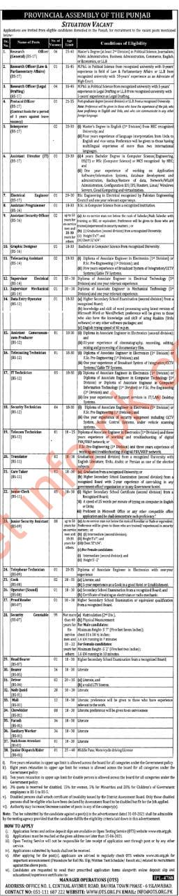 Provincial assembly of the Punjab jobs 2021