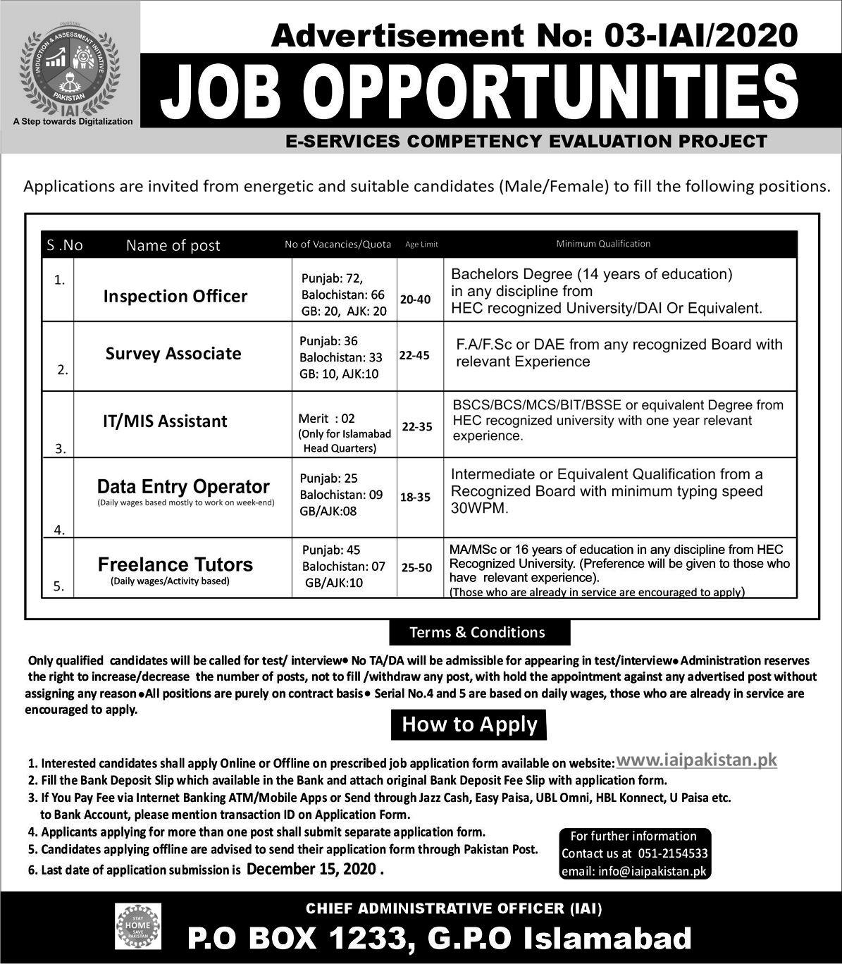 Induction and Assessment Initiative Pakistan Jobs 2020