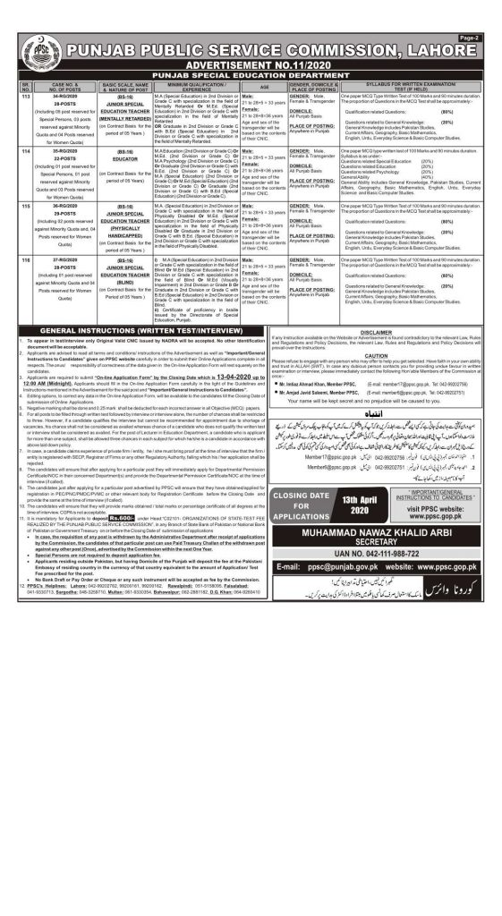 PPSC Jobs March 2020