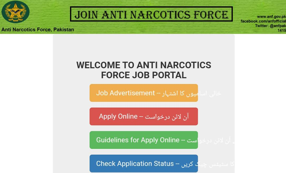 Anti Narcotics Force ANF Jobs 2020