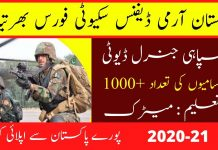 Pak Army Defence Security Force Jobs 2020