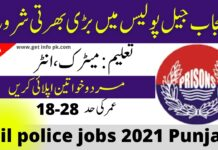 Jail police jobs 2021 Punjab