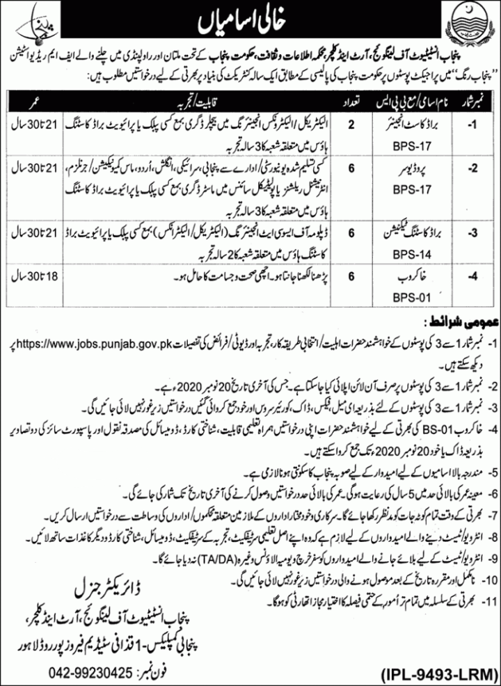 Jobs in Punjab Information and Culture Department 2020