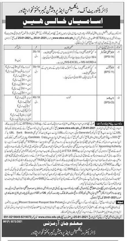 Directorate of Reclamation and Probation KPK Jobs 2021