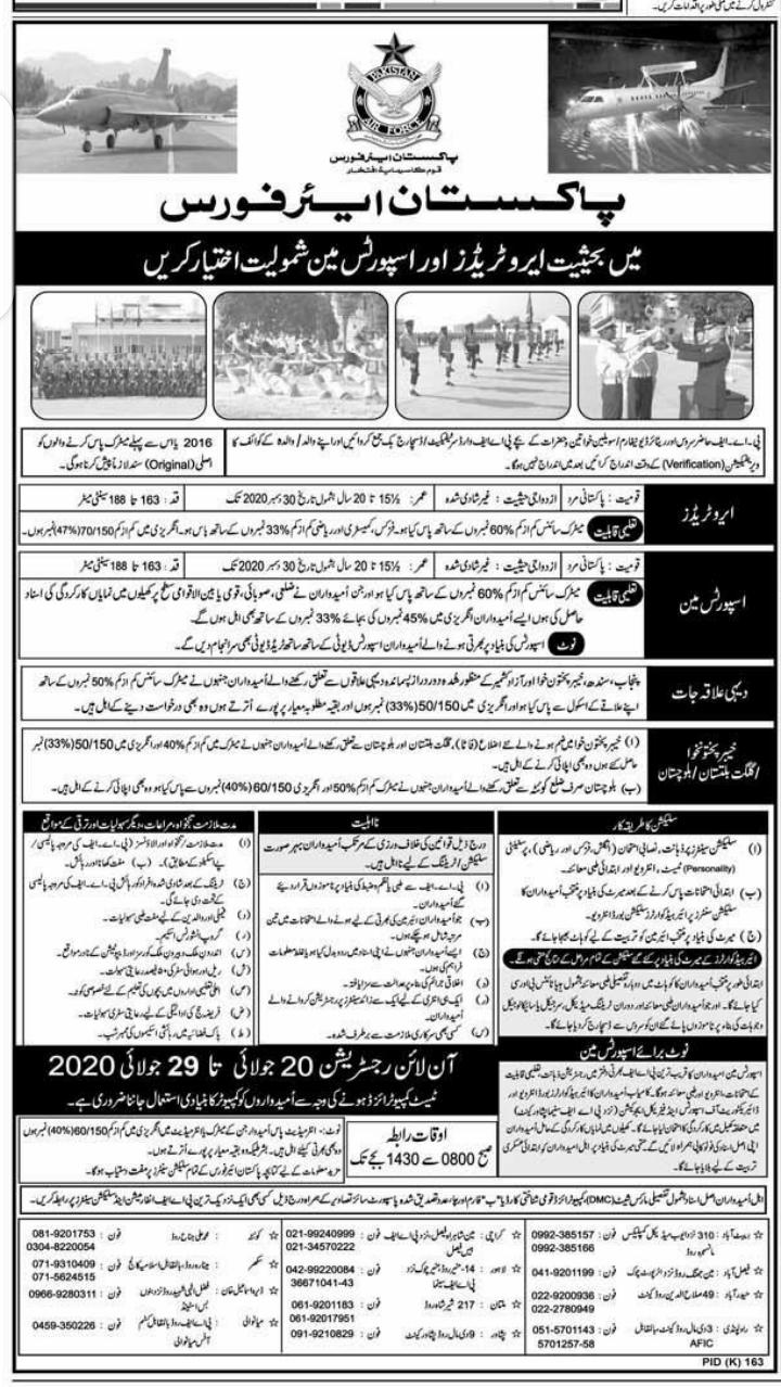 Pakistan air force jobs 2020