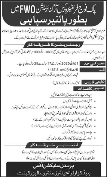 The Pak Army Frontier Works Organization jobs 2020