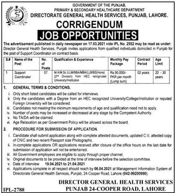 Primary and secondary healthcare department jobs 2021