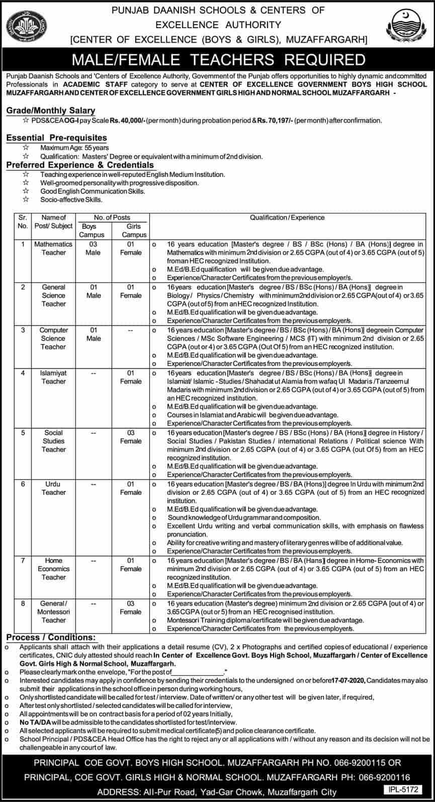 Punjab Daanish School Teaching Jobs