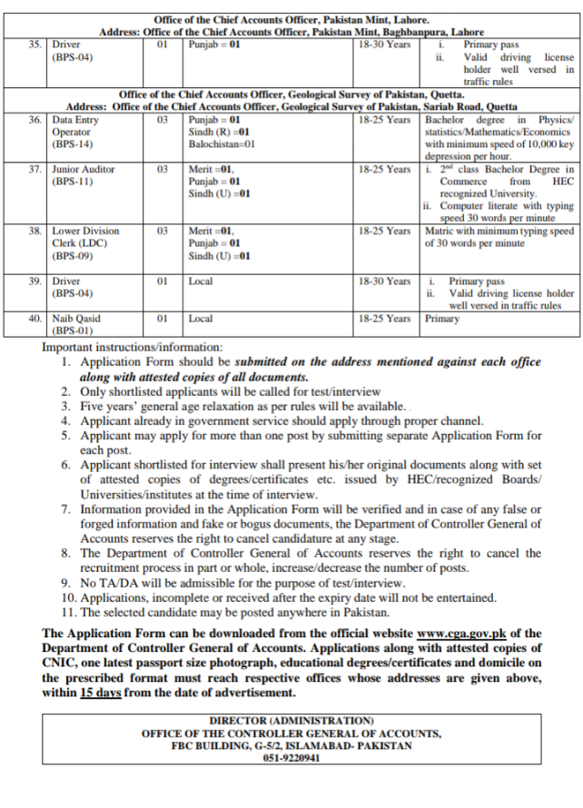 Controller General of Accounts CGA Jobs
