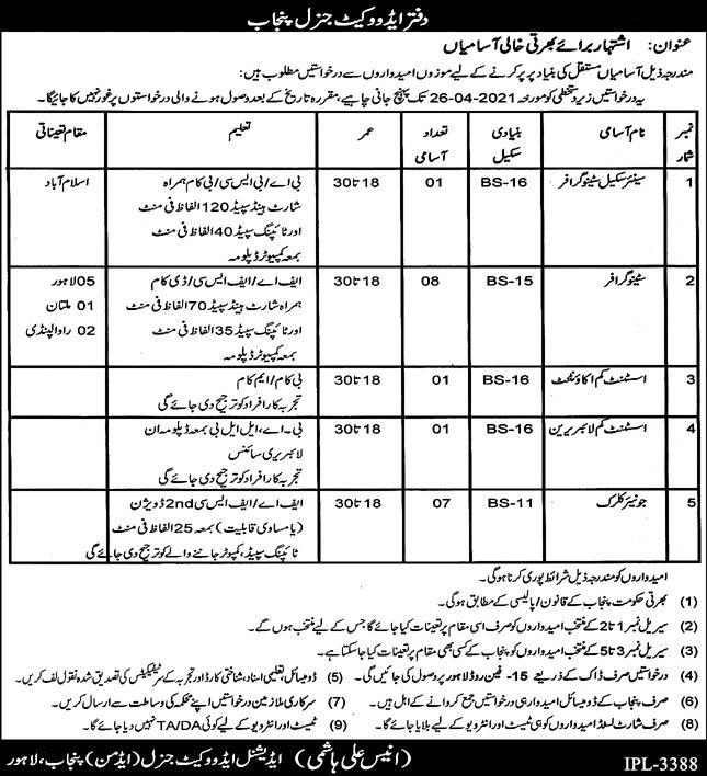 Advocate general Punjab jobs 2021