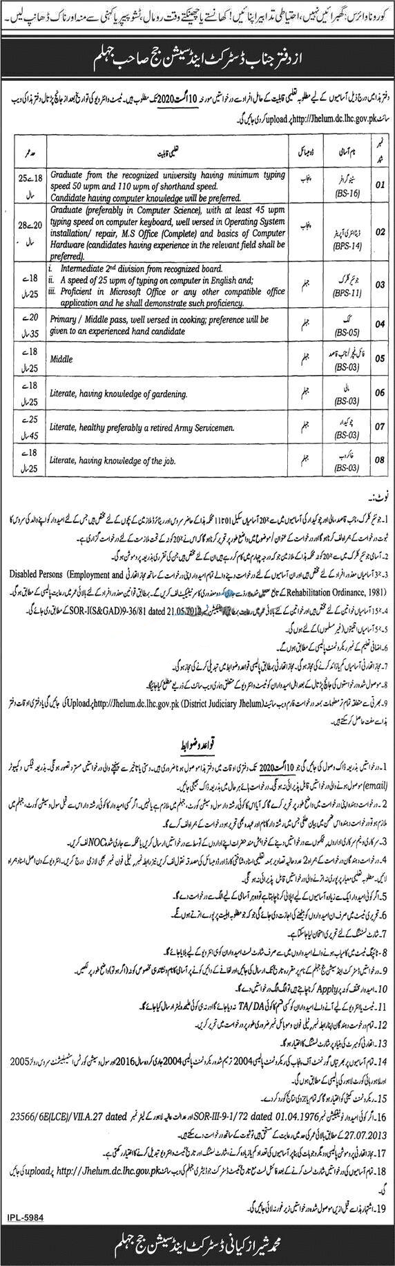 District and Session Court Jobs In Punjab 2020