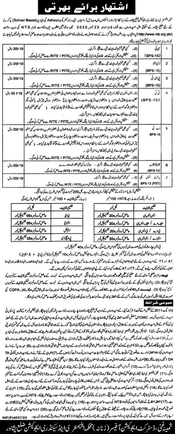 Teaching Jobs in KPK November 2020 Advertisement via NTS