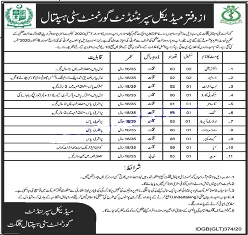 City Hospital Gilgit Government Jobs 2020