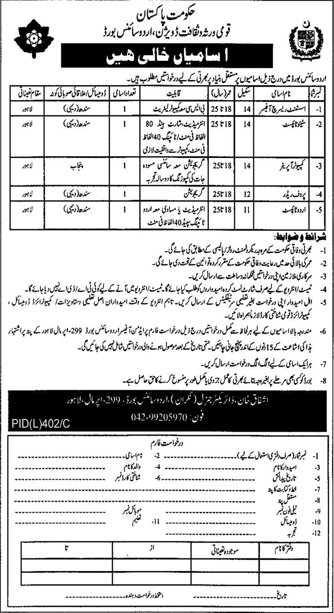 National Heritage and Culture Division Urdu Science Board Jobs
