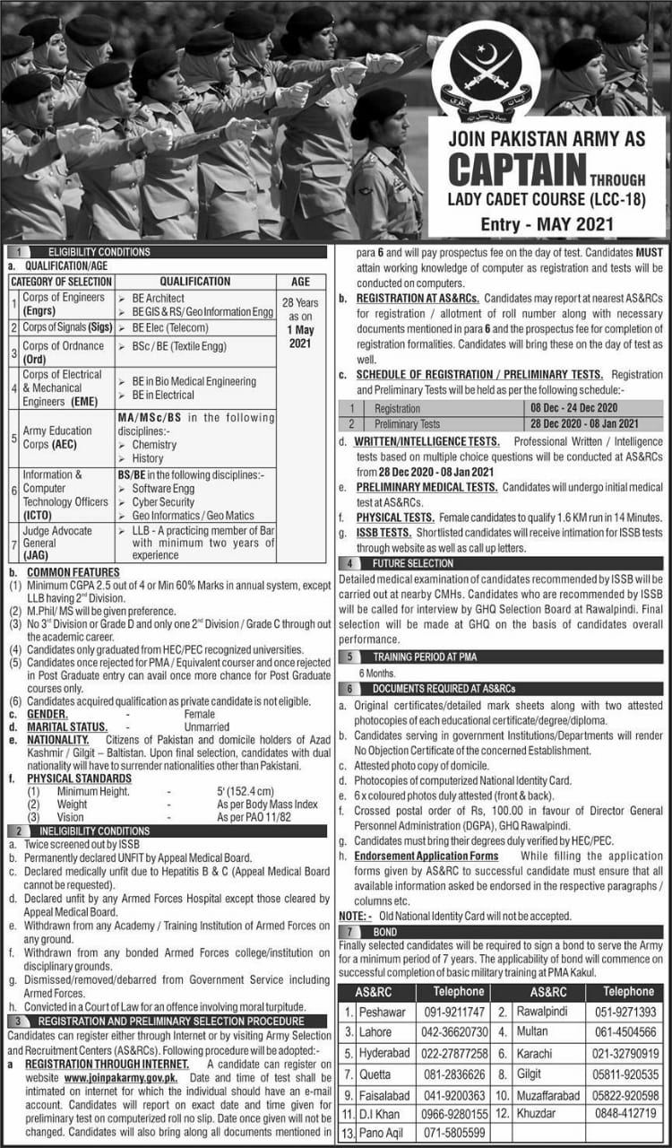 Join Pak Army as captain lcc-18