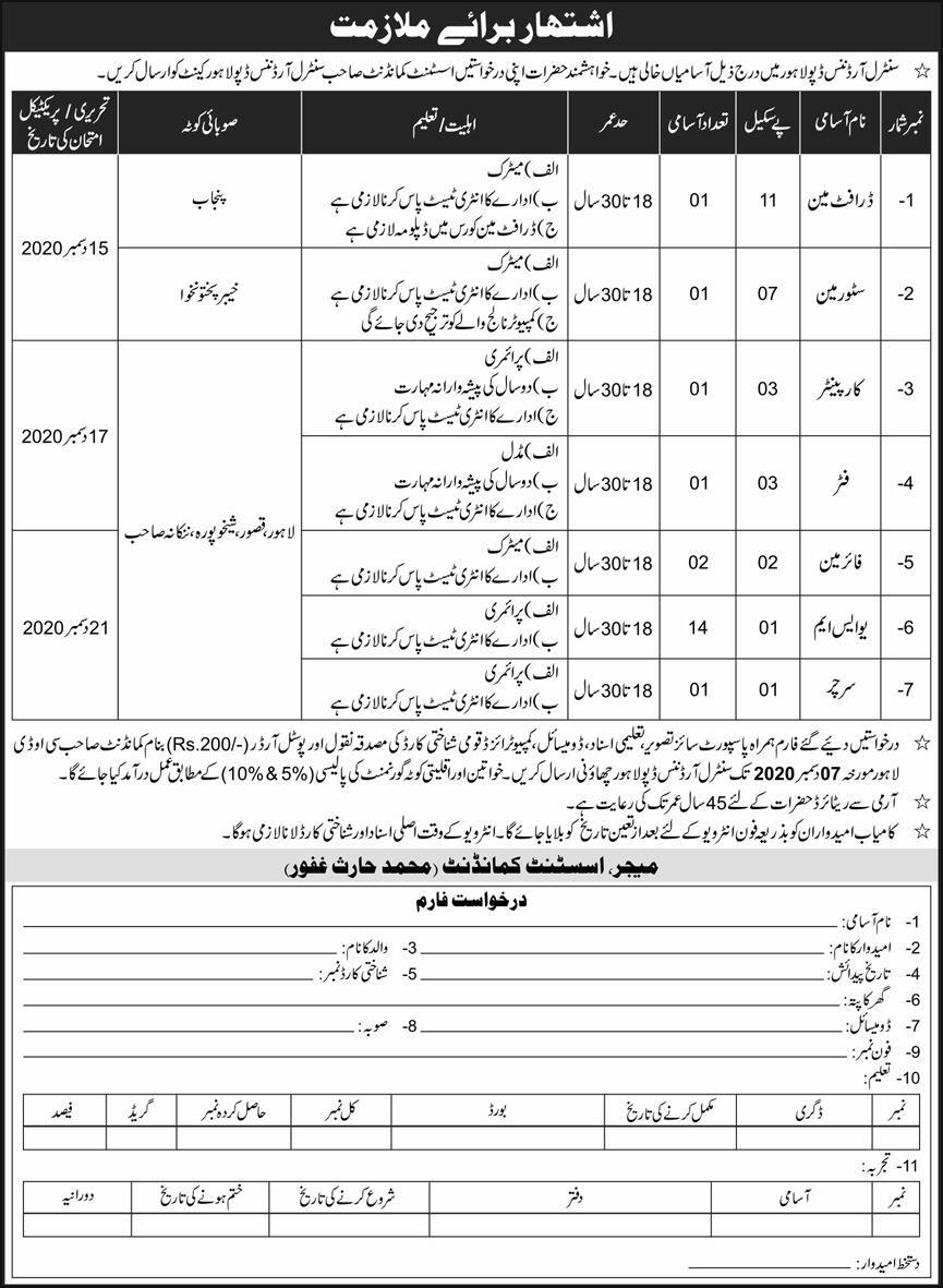 Join Pak Army Central Ordnance Depot Lahore Cantt Jobs