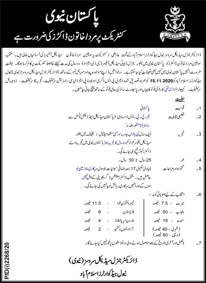 Latest Jobs in Pakistan Navy 2020