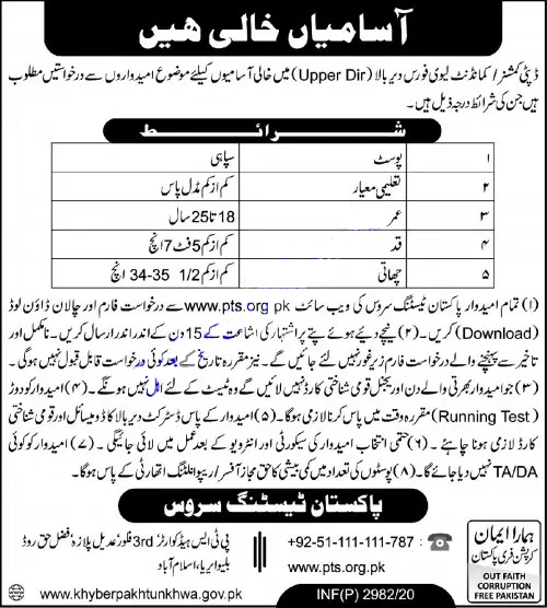 Levies Force Jobs in Pakistan