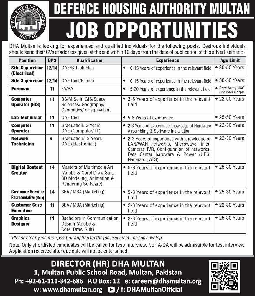 DHA Multan jobs July 2020