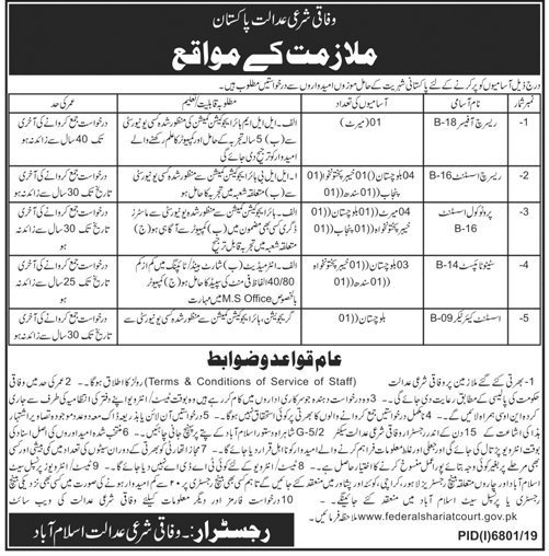 Federal Shariat Court jobs application form 2020