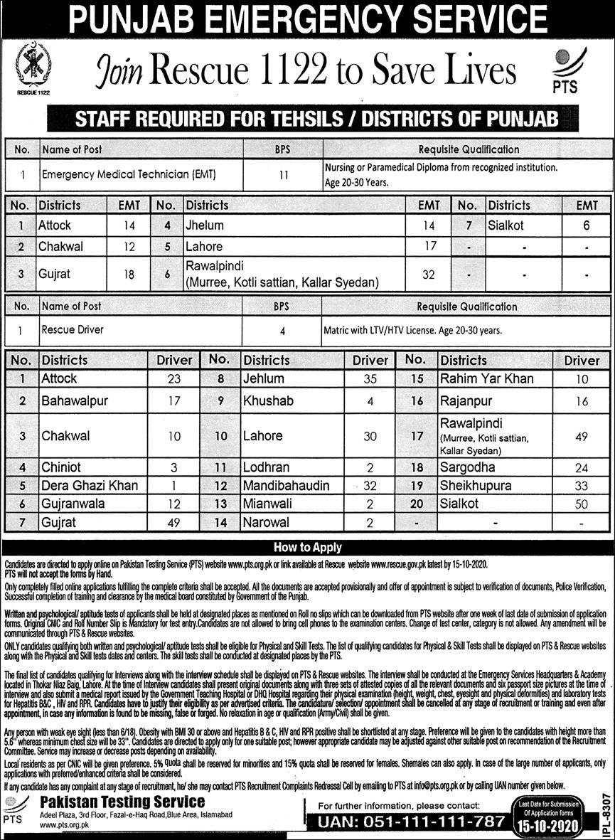 Rescue 1122 jobs 2020 Punjab